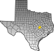 Map showing Milam County location within the state of Texas
